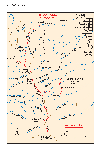 Wellsville Utah Map.Wellsville Ridge Wellsville Mountains Wilderness Area