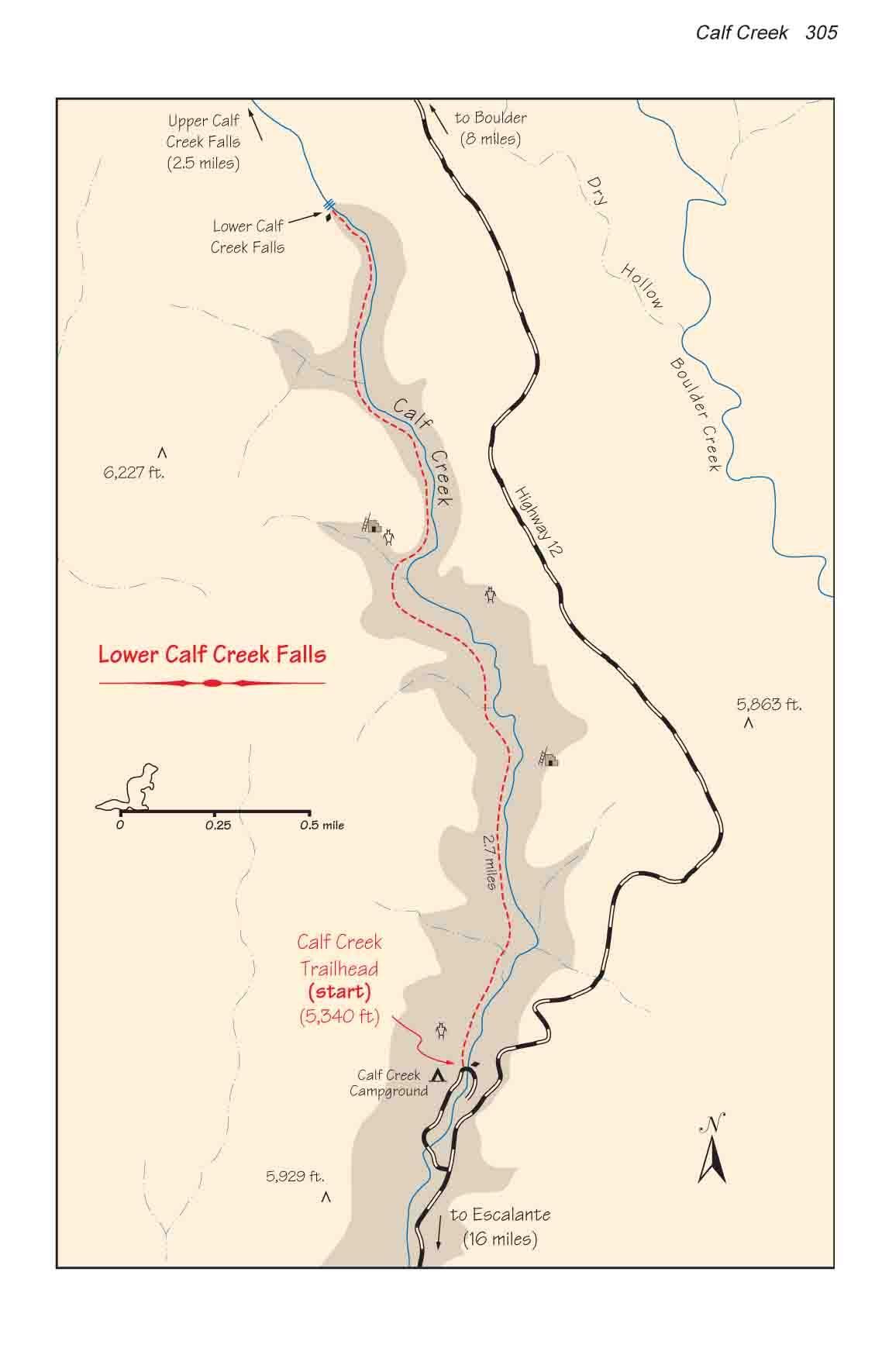 Calf Creek Grand StaircaseEscalante National Monument - Calf map